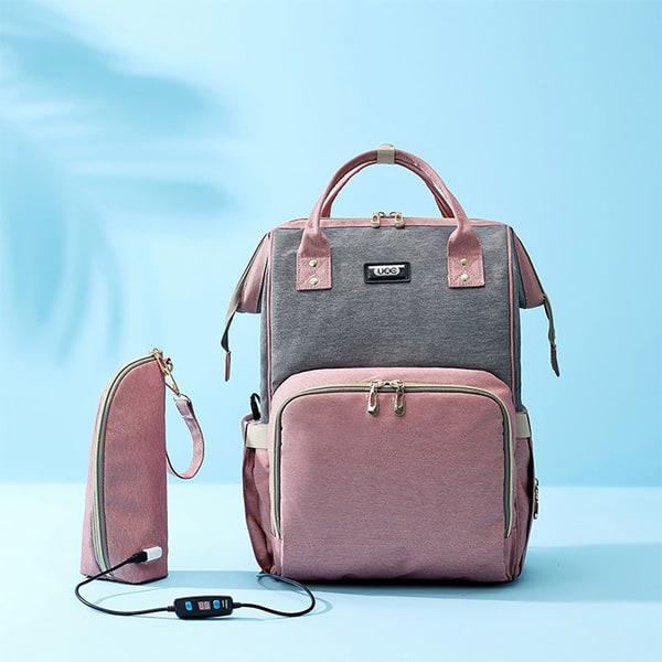 964f0dc617 Τσάντα Αλλαξιερα Καροτσιού πλάτης μωρού ροζ-γκρι με usb - Petit Kids ...